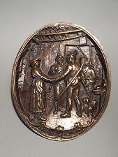 Jägers Abschied /Begrüßung Bronze Relief oval Dackel Edelweiß toll Deko Geschenk