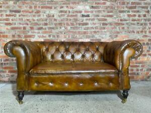 19th C Antique Drop end two seater Horsehair Filled Tan Leather Chesterfield