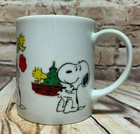 Peanuts Schulz Vintage 1965 Snoopy & Woodstock Christmas Coffee Mug Tea Cup 10oz