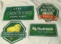 Nutrena Feed Metal Chicken Signs 1 Set of 4 Different Designs- CHARITY NEW