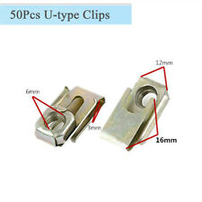 50Pcs M6 Car Dashboard Door Panel Spring Panel U-Type Clips Speed Nuts Fasteners