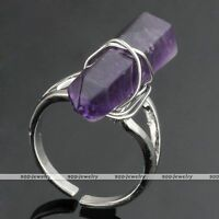 Natural Amethyst Stone Hexagon Healing Chakra Bead Women Ring Adjustable-am
