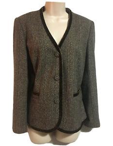 MINOSA Designer Women's UK 14 Tweed Blazer Jacket Wool Silk Blend Velvet Trim
