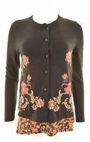 DESIGUAL Womens Cardigan Top Long Sleeve Size 14 Large Black Cotton  LG19