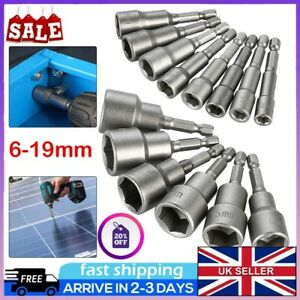 "14pcs Hex Magnetic Nut Driver Set 6-19mm Metric Socket Impact Drill Bits 1/4""-UK"