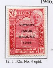 Aden 1946 Victory Early Issue Fine Mint Hinged 1.5a. Optd 228764
