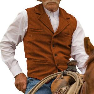 Grooms Orange Tweed Vest Retro Men Waistcoat Vintage Herringbone Notch Lapel 3XL