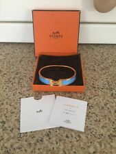 HERMES H BRACELET BLUE/GOLD WITH POUCH & BOX BARELY WORN GREAT CONDITION