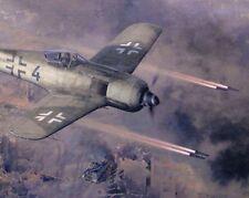 ORIGINAL WW2 AVIATION ART PAINTING FW-190 FIGHTER LUFTWAFFE WWII RUSSIA T-34