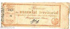 FRANCE MANDAT TERRITORIAL PROMESSE 100 FRANCS 1796 VENTÔSE AN 4 DE LA REPUBLIQUE