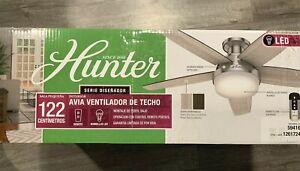 "Hunter Avia Low Profile Ceiling Fan 48"" 5 Reversible Blades LED Brushed Nickel"