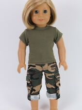 "Doll Clothes AG 18"" Pants Camouflage Top Olive Green Fits American Girl Dolls"