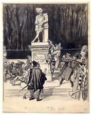 Karneval-Denkmal - Karikatur - Zeichnung um 1900