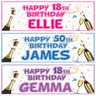 2 PERSONALISED BIRTHDAY BANNERs 3ft x 1ft - 18th 21st 30th 40th 50th 60th 70th
