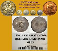 Brazil 1900 4000 Reis, Rare Commerative NGC 63, Full Detail Strke, Mtg 6,850 pcs