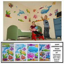 GIANT Kids Boys Girls Bedroom SEALIFE SEA FISH UNDERWATER MARINE Wall Stickers