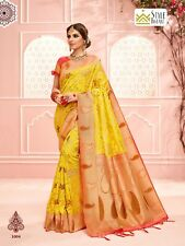 Bollywood Sari Indian Saree & Blouse Diwali Yellow Woven Banarasi Art Silk -1625