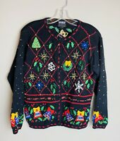 Ugly Christmas Sweater Women's Size Small Knit Long Sleeve Black Jingle Bells