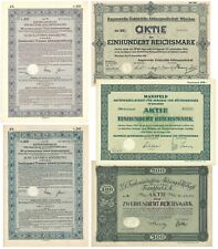 5 verschiedene Deutsche Aktien, historische Wertpapiere