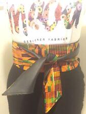 Faux leather And Kente Print Obi Belt
