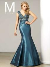 MAC DUGGAL 834$ SLATE BLUE LONG COCKTAIL DRESS LACE PROM MERMAID SKIRT SIZE 6