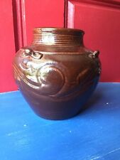 Antique Primitive Crock Hull Design Raku Handspun Pottery Vase Bowl Jug 6 X 6 #