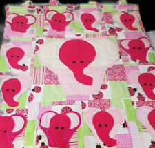 Pink Elephants Nursery Infant Window Wall Panel Cotton Hand Sewn From Kit