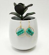 Gold Filled Jade Small Hoop earrings  women  fashion Handmade