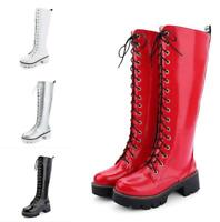Women Platform Lace Up Knee High Boots Punk Military Riding Boots Cosplay Shoes
