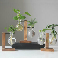 Plant Glass Vase Hydroponic Flower Pot Wooden Frame Stand Terrarium Home Dec .JC