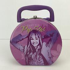 Disney Hannah Montana Miley Cyrus Keepsake Tin Purse Lunch Box Purple Rock Star