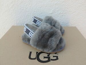 UGG CHARCOAL FLUFF YEAH SLIDE SHEEPSKIN SANDALS, TODDLER US 6/ EUR 22 ~NIB