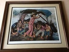 """Wai Ming """"Girls in Sampan"""" Limited Edition Lithograph Print with COA, Framed"""