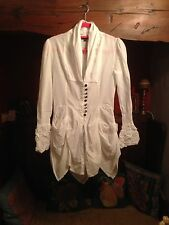 "Bnwot Tsega Designer White Cotton Blouse 10 36"" Length 35"""