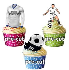 PRECUT Birthday Football Party Pack Cup Cake Toppers Decoration Blue & White