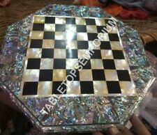 "18"" Marble Chess Coffee Table Top Pauashell Inlay Stone Bedroom Home Decor E760"