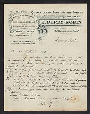 """SAINT-GERMAIN-du-BOIS (71) QUINCAILLERIE DROGUERIE """"Eugene BURDY & ROBIN"""" 1905"""