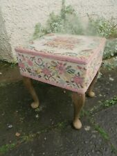 Vintage Tapestry Sewing Box Basket On Legs. & With 3 Pieces of Needlework