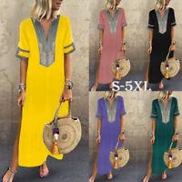 Women Summer Boho Casual Long Maxi Dress Short Sleeve Kaftan Beach Sundress S-5X