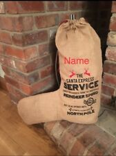 Personalised  XL rustic  Jute special delivery christmas Santa stocking Any name