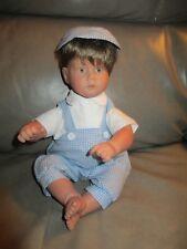"Pat Secrist ""Dumpling"" Boy Doll Brown Hair Blue Eyes 13"" Blue & White Outfit"