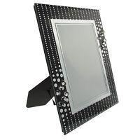 Glas Bilderrahmen rechteckig in Schwarz mit schöner Verzierung NEU