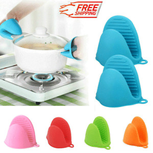 2PCs Silicone Heat Insulation Grips Oven Mitts Gloves Cooking Mitts For Kitchen