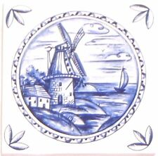 """Blue Delft Ceramic Tile 4.25"""" x 4.25"""" House Windmill Kiln Fired with Corners #2"""