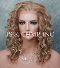 HEAT SAFE Wavy Spiral Curly Lace Front Wig Blonde Mix Ay 27-613