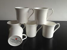 6 Plain White Fine Bone China 7oz Mugs