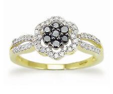 Nice! 10K Yellow Gold Black & White Diamond Split Band Cluster Ring - .33ct