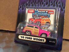 1950 Woody wagon ford 50 muscle machine funline custom blower  1:64 pink  maisto
