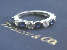 Tiffany & Co Platinum Diamond Sapphire Bar Setting Band Ring 9-Stone 1.60Ct