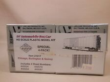 HO PROTO 2000 CB&Q BURLINGTON 50' AUTOMOBILE BOX CAR 4-PACK KIT